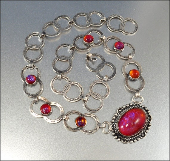 Antique Art Deco Necklace Dragons Breath Jelly Opal Sterling Silver Vintage Jewelry 1920s