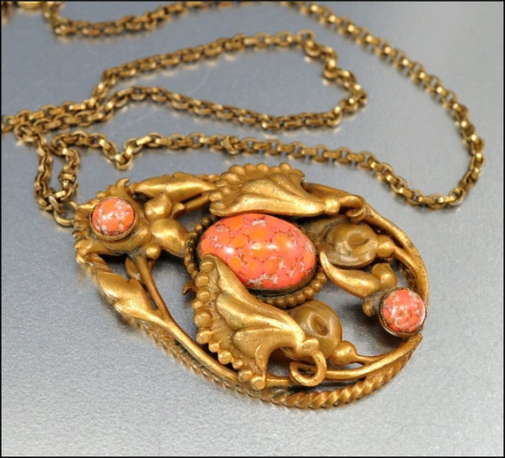 Art Deco Necklace Gold Coral Glass Lily Pendant Large Vintage 1930s Jewelry