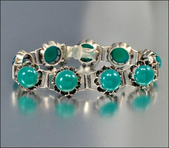 Art Deco Bracelet Chinese Silver Vintage Jewelry Chrysoprase Green 1930s