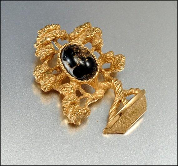 Vintage Foil Glass Gold Brooch Bonsai Tree Brown Stocking Stuffer Vintage Jewelry