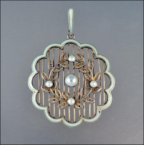 Marius Hammer Victorian Necklace Silver Enamel Norway Vintage Jewelry Antique
