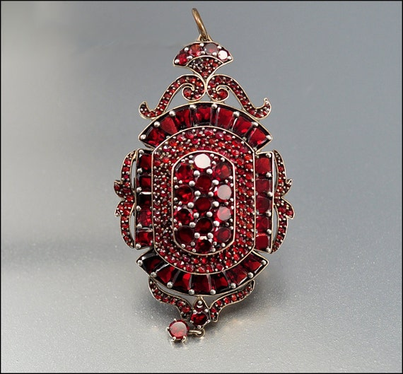 Reserved Garnet Brooch Antique Locket Victorian Pendant Antique Jewelry Large