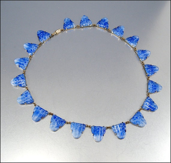 Art Deco Czech Necklace Blue Glass Silver Geometic Egyptian Vintage 1920s Jewelry