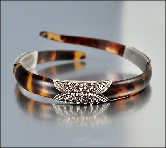 Antique victorian bracelet snake tortoise shell silver vintage for Real tortoise shell jewelry