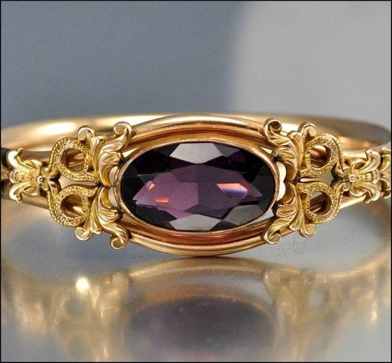 Victorian Bracelet Bangle Gold Glass Amethyst Austin Amp Stone