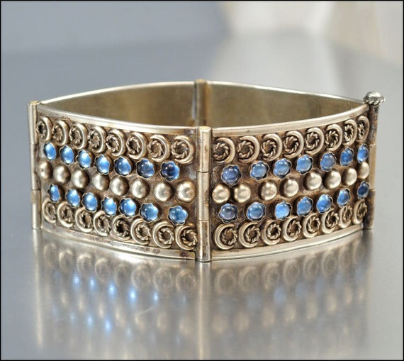RESERVED Art Deco Bracelet Silver Italy Blue Glass Wide Etruscan Bangle Vintage 1930s Jewelry