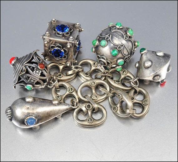 Reserved Art Deco Bracelet Peruzzi Silver Charm Etruscan