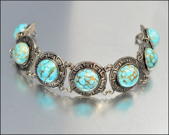 Art Deco Bracelet Turquoise Glass Silver Enamel Geometric Egyptian Vintage 1930s Jewelry