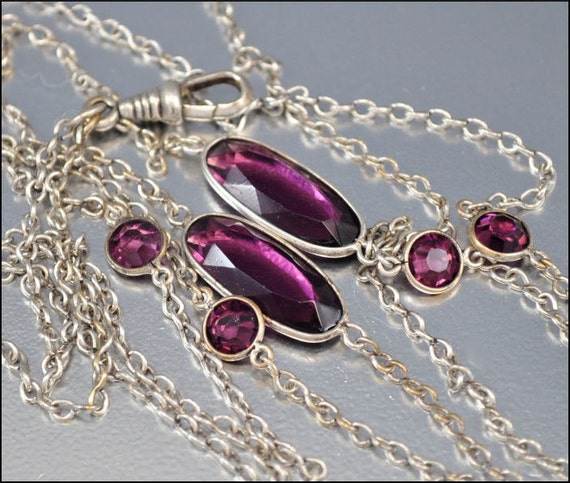 Crystal Watch Chain Silver Necklace Antique Jewelry Victorian Necklace Glass Muff Vintage Jewelry