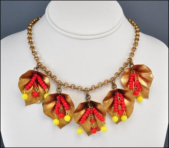 Art Deco Necklace Charm Bib Gold Leaf Glass Brass Vintage 1930s Jewelry