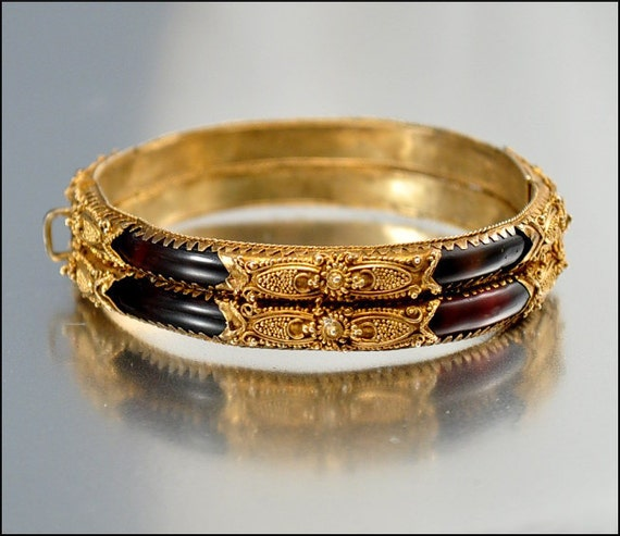 Antique victorian bracelet bangle tortoise shell gold by for Real tortoise shell jewelry