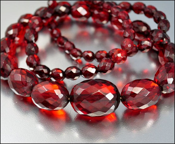 Cherry Amber Art Deco Necklace Faceted Bead Long Graduated 63 gms Vintage Antique 1920s Jewelry