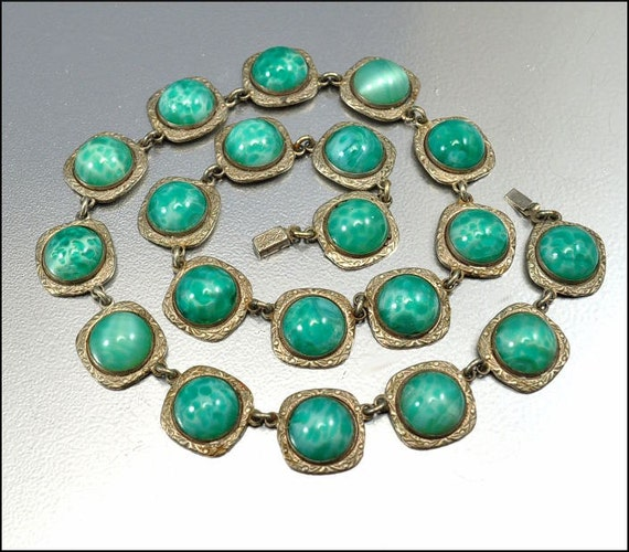Czech Glass Art Deco Necklace Silver Geometric Antique Jewelry Vintage 1920s Jewelry Green