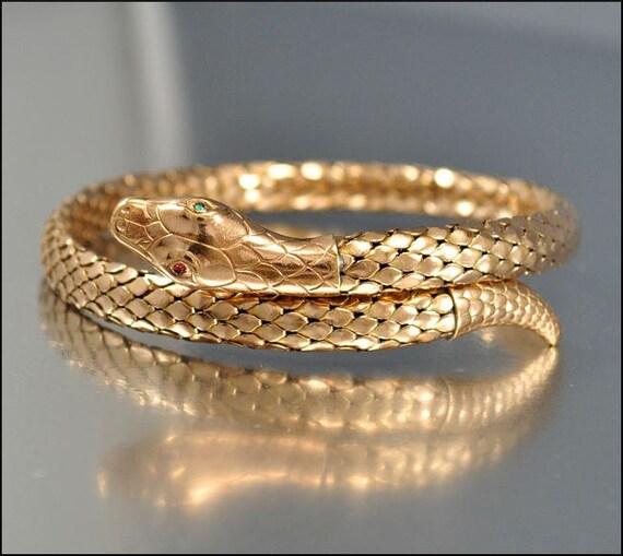 Art Deco Bracelet Bangle Rolled Gold Snake Coil Mesh German