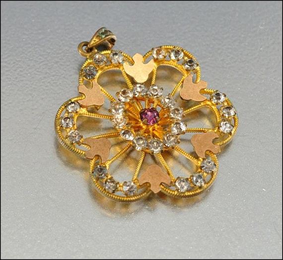 Art Deco Necklace Pendant Gold Fill Bird Paste Rhinestone Vintage 1920s Jewelry