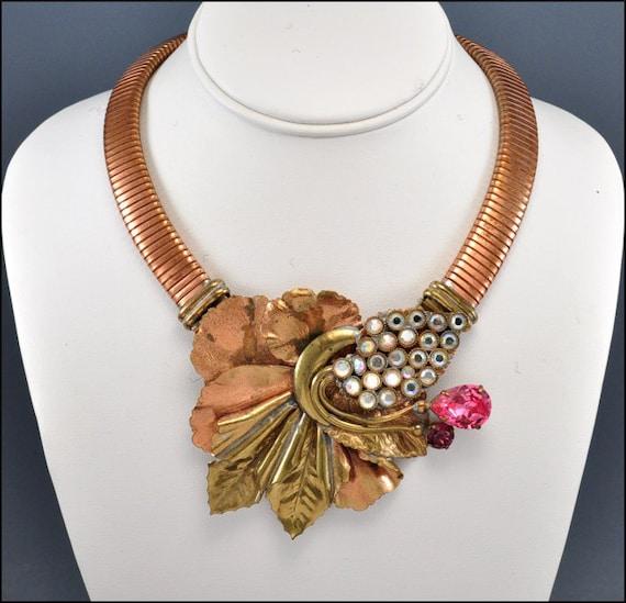 RESERVED Vintage Necklace Rhinestone Brass Copper Glass Designer 1970s Jewelry
