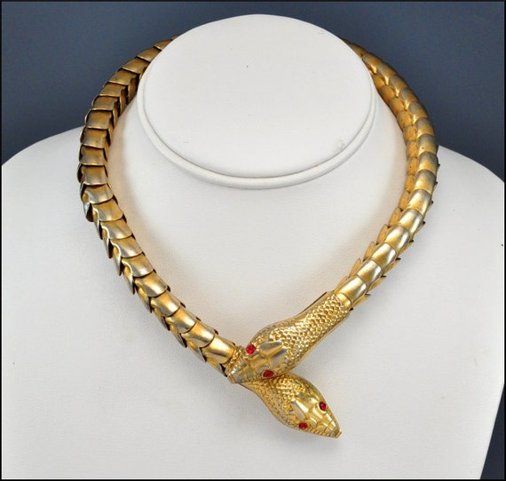 Art Deco Necklace Snake Gold Red Rhinestone Articulated Vintage 1930s Jewelry Goth