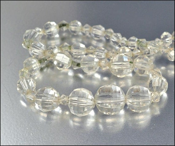 Art Deco Necklace Crystal Glass Bead Graduated German Vintage 1930s Jewelry Destash Repurpose