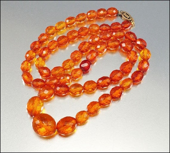 Art Deco Necklace Baltic Amber Butterscotch Bead Sterling Vintage 1920s Art Deco Jewelry