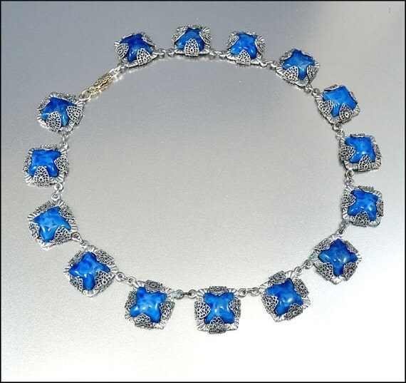 Art Deco Necklace Blue Glass Rhodium Silver Filigree Geometric Vintage 1920s Jewelry
