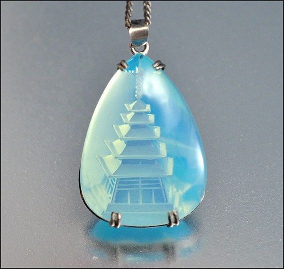 Vintage Moonstone Necklace Silver Carved Pagoda Pendant Blue Japanese 1950s Jewelry
