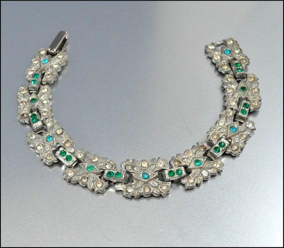 Art Deco Rhinestone Bracelet Silver Pot Metal Emerald Green Vintage 1930s Jewelry Bridal