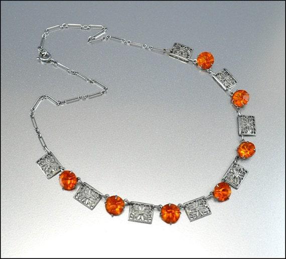 Antique Art Deco Necklace rystal Rhodium Silver Filigree Glass Vintage Jewelry 1930s