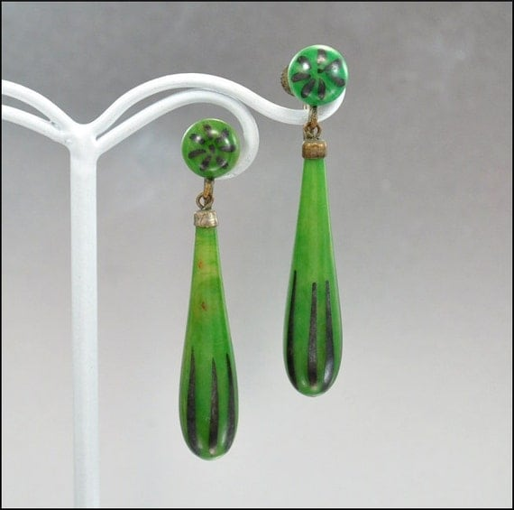 Art Deco Earrings Galalith Celluloid Enamel Dangle Brass Chadnelier Green Vintage Jewelry 1920s