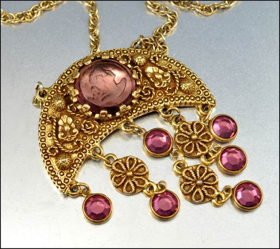 Vintage Gold Necklace Cameo Glass Bead Purple Goldette Etruscan Jewelry Pendant