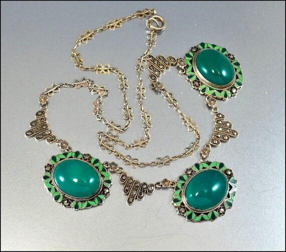 Enamel Marcasite Sterling Silver Art Deco Necklace Art Deco Jewelry Chrysoprase Antique Jewelry 1920s Vintage Jewelry
