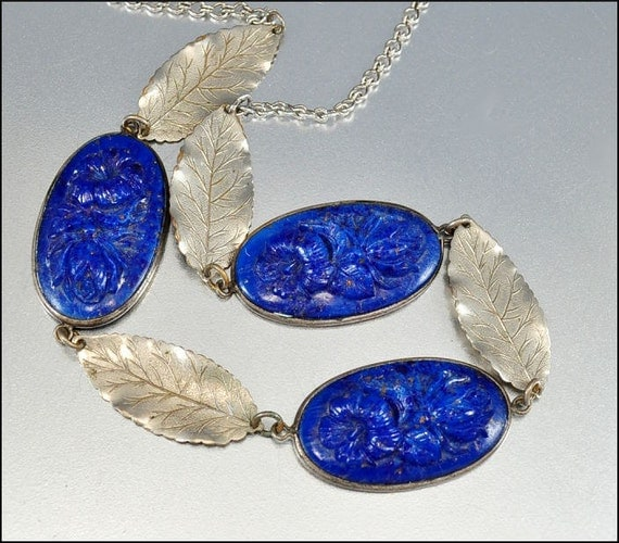 Art Deco Necklace Blue Glass Flower Silver Leaf Vintage 1930s Jewelry