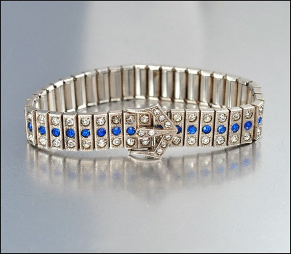 Art Deco Blue Rhinestone Bracelet Buckle Sterling Silver Crystal  Vintage 1920s Wedding Jewelry Bridal