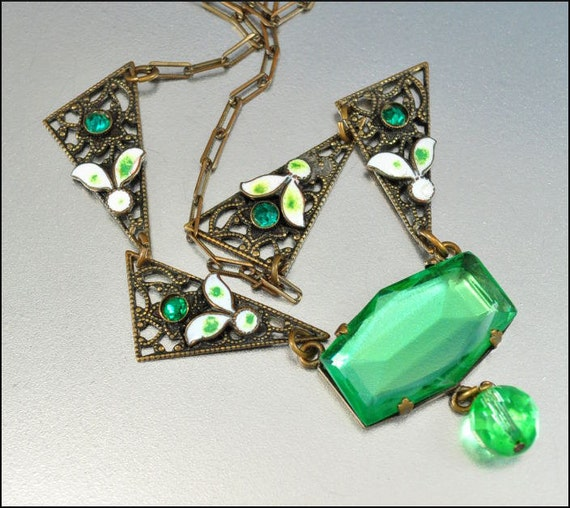 Art Deco Necklace Emerald Green Glass Enamel Gold Rhinestone Vintage 1920s Jewelry