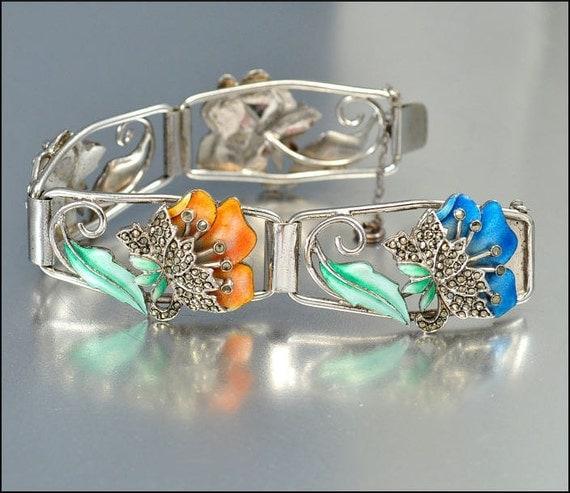 Art Deco Bracelet Sterling Silver Enamel Marcasite Flower Trembler Vintage 1920s Jewelry