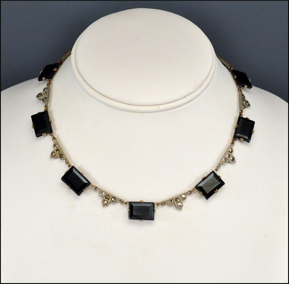 Art Deco Necklace Silver Marcasite Glass Geometric Vintage 1930s Jewelry Black