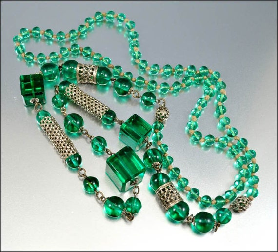 Art Deco Necklace Green Glass Bead Silver FIligree Flapper Long Vintage 1920s Jewelry