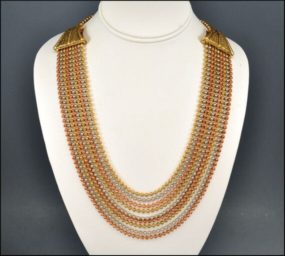 Art Deco Necklace Gold Silver Copper Ball Bead Multi Chain VIntage 1930s Costume Jewelry