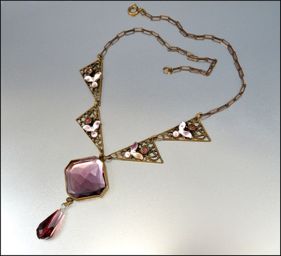 RESERVED Vintage Art Deco Necklace Purple Glass Enamel Brass Rhinestone 1920s Jewelry