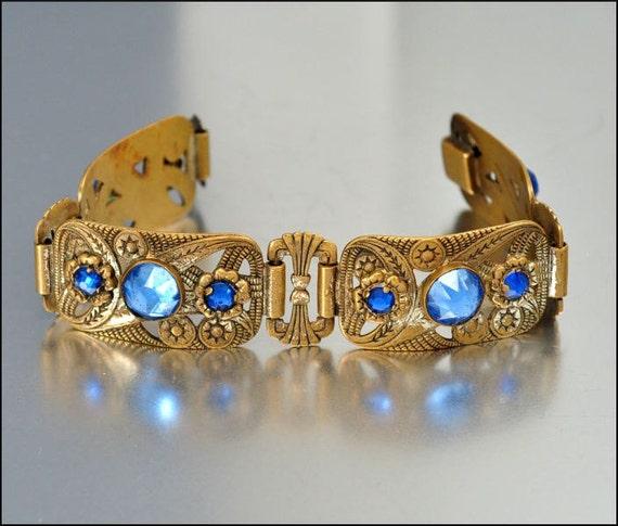 Art Deco Bracelet Czech French Vauxhall Glass Blue Brass Star Vintage 1920s Jewelry