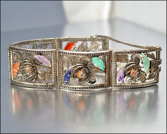 Art Deco Bracelet Chinese Silver Amethyst Coral Carnelian Turquoise Vintage 1920s Jewelry