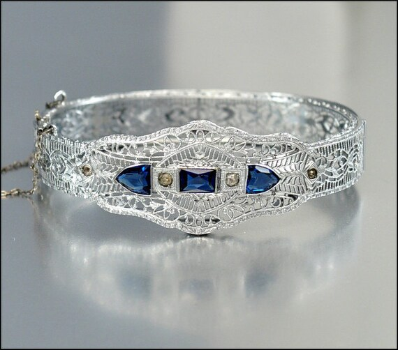 Art Deco Bangle Bracelet Blue Glass Silver Filigree Rhinestone Vintage 1920s Wedding Jewelry
