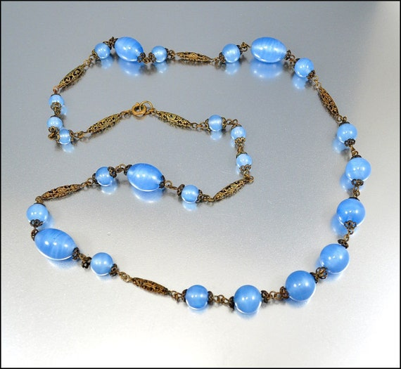 Glass Bead Czech Art Deco Necklace Art Deco Jewelry Gold Filigree Vintage 1920s Jewelry Blue