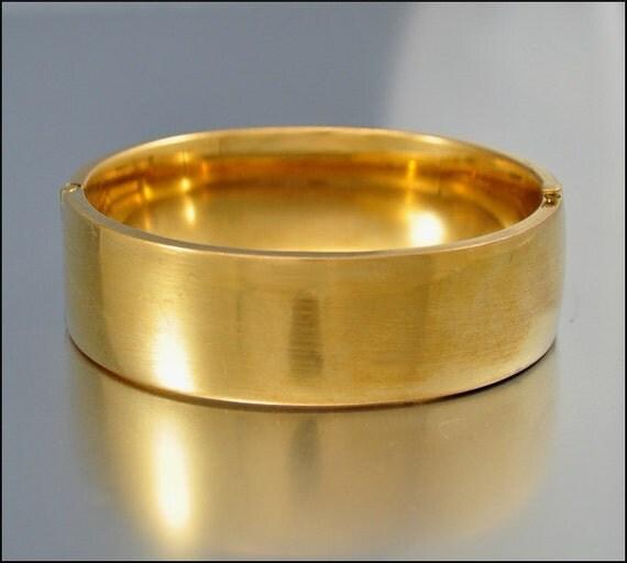 Art Deco Bracelet Bangle 12K Gold Fill Wide Hollow Vintage 1930s Jewelry