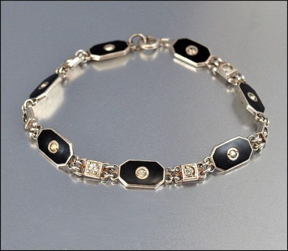 Art Deco Bracelet Sterling Silver Enamel Paste Geometric Vintage 1920s Jewelry