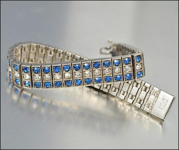 Art Deco Bracelet Sterling Silver Diamonbar Bracelet Rhinestone Art Deco Jewelry Wedding Jewelry
