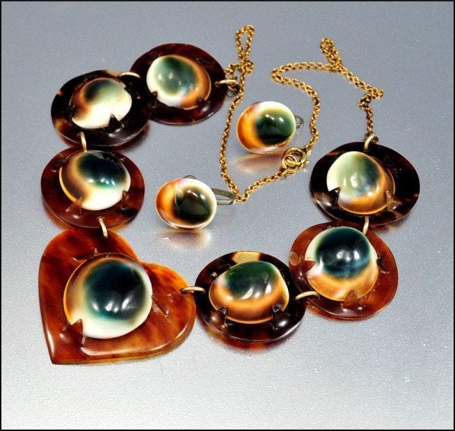 Victorian operculum tortoise shell necklace earrings heart for Real tortoise shell jewelry