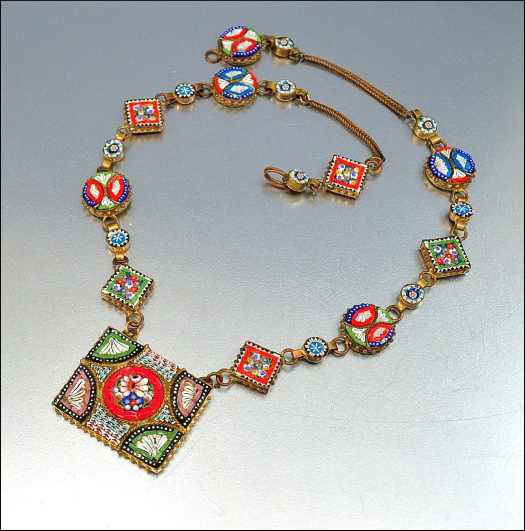 vintage micro mosaic italy necklace brass glass art deco 1930s