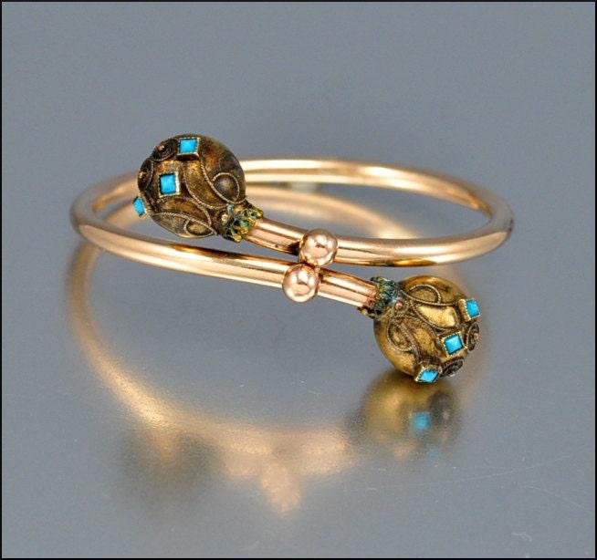 Gold Bangle Victorian Bracelet Turquoise Etruscan Antique