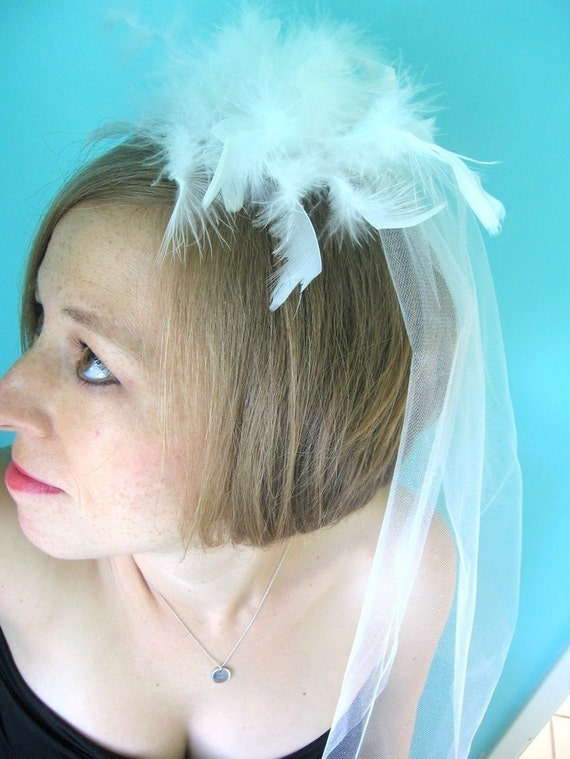 White OSTRICH feather shimmer netting Bachelorette VEIL - Ready to Ship