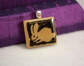 Little Bunny Rabbit Hand Stamped Scrabble Tile Pendant - Free Shipping -